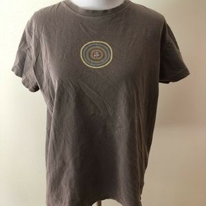 Life Is Good brown T with multi colors - womens L